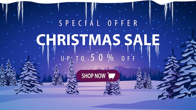 Christmas sale banner with winter landscape