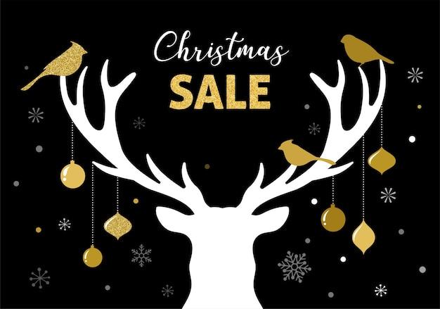 クリスマスセールバナー、鹿のシルエットのクリスマステンプレートの背景。小売マーケティング、新しい広告キャンペーン、ホリデーショッピング、ベクターイラスト