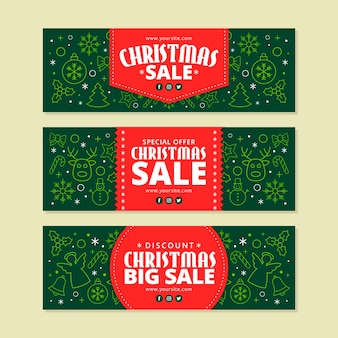 Christmas sale banners in flat design