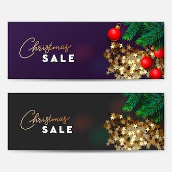 크리스마스 판매 배너 골든 스타 색종이 벡터 이미지와 가로 크리스마스 포스터