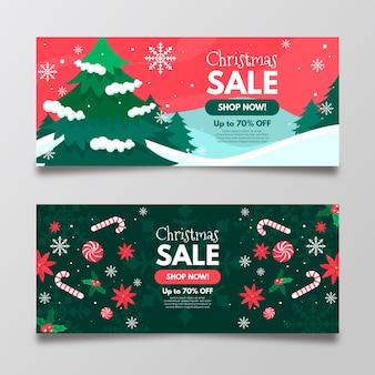 Новогодняя распродажа баннеров в плоском дизайне
