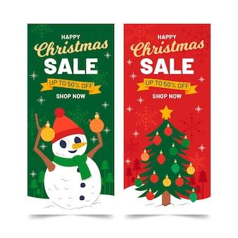 평면 디자인에 크리스마스 판매 배너