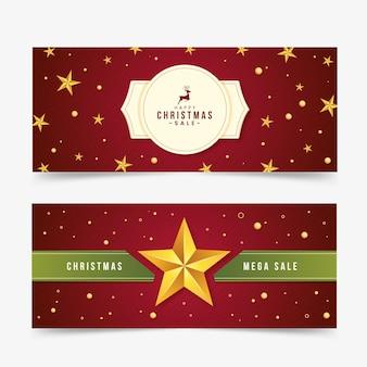 Рождественские продажи баннеров в плоском дизайне