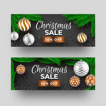 Christmas sale banners realistic design