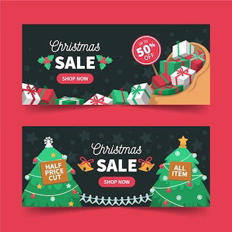 Christmas sale banners with gifts and trees