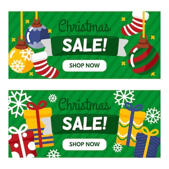 Christmas sale banners with presents and stockings