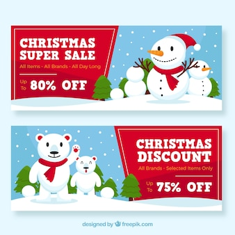 Christmas sale banners with snowmen