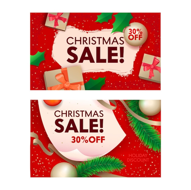 Christmas sale banners with wrapped festive gift boxes, fir tree branches and balls on red background top view. shopping, off, discount or holidays offer promo posters with cartoon vector decoration