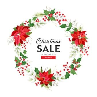 크리스마스 판매 카드, 벡터 겨울 휴가 시즌 제공, 새해 특별 프로모션, 포인세티아 꽃, 홀리 베리, 겨우살이, 꽃 할인 개념, 포스터 디자인 일러스트레이션, 광고, 전단지