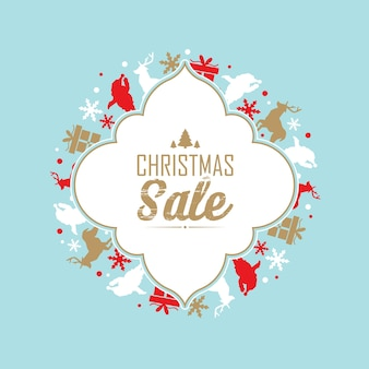 Christmas sale and celebration poster with text about discounts in the centre of decorative frame