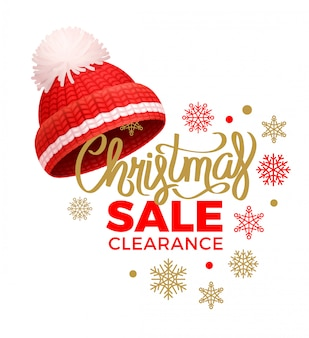 Christmas sale clearance, knitted red hat, pom-pom