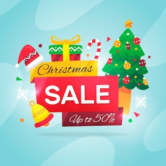 Christmas sale concept in flat design