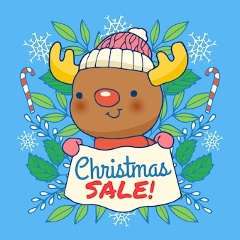 Christmas sale concept in hand drawn