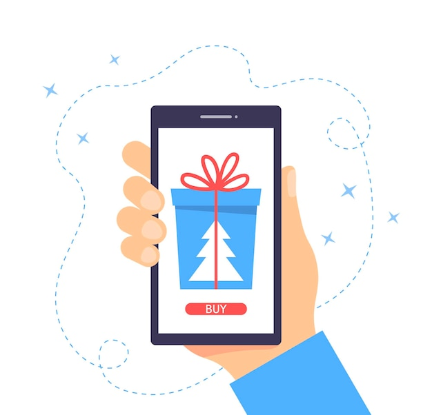 Christmas sale concept hand holding smartphone