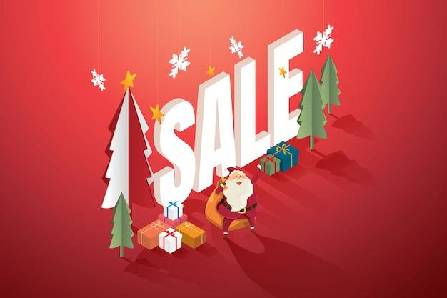 クリスマスセールのコンセプトクリスマスツリーギフトボックスとサンタクロース