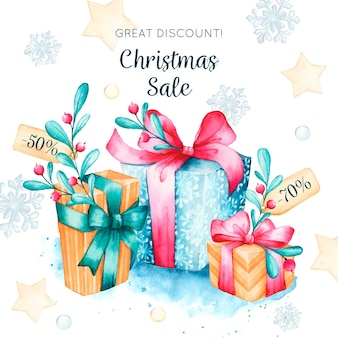Christmas sale concept in watercolor
