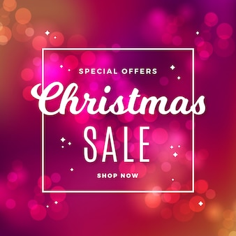Christmas sale concept with blurred background