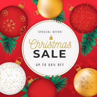 Christmas sale concept with golden background