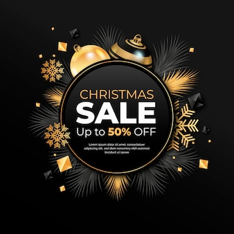 Christmas sale concept with realistic background