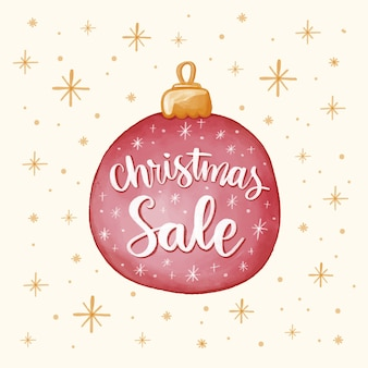 Christmas sale concept with watercolor design