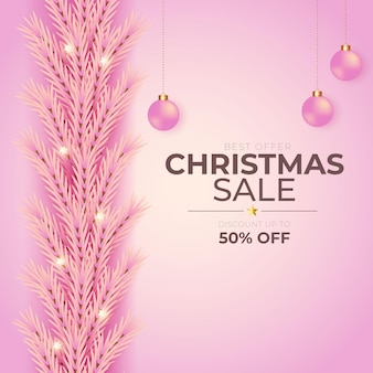 Christmas sale decoration with pink background and pink christmas ball
