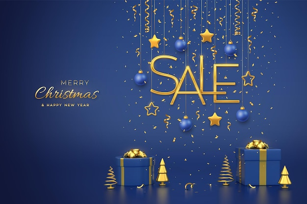クリスマスセールデザインバナー。 3d星、青い背景の上のボールとゴールデンメタリックセールの手紙をぶら下げます。ギフトボックスと金色の金属製の松またはモミ、円錐形のトウヒの木。ベクトルイラスト。