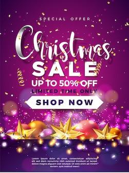 Дизайн рождественской распродажи с золотой звездой и огнями гарленд