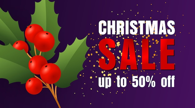 Christmas sale design with holly leaves and berries and confetti