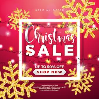 Дизайн рождественской распродажи с огнями гирлянда