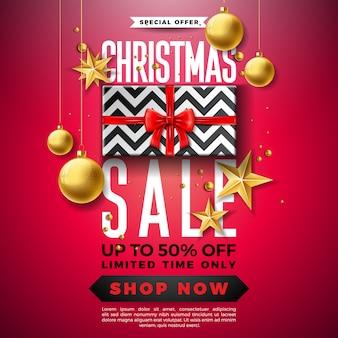 Christmas sale design with ornamental ball and gift box