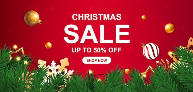 Christmas sale discount banner on red background with fir branches and snowflakes.