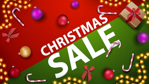 Christmas sale discount banner with candy cane