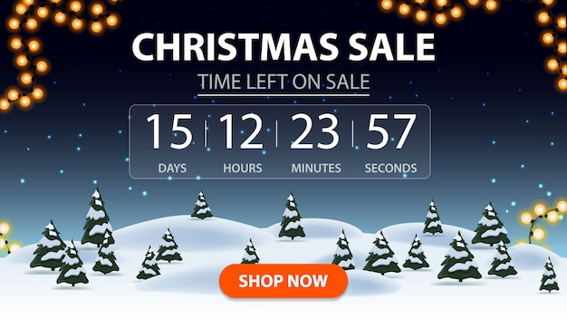 Christmas sale, discount banner with cartoon winter forest, starry sky, timer with reverse report and button