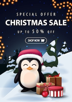 Christmas sale discount banner with night cartoon winter landscape