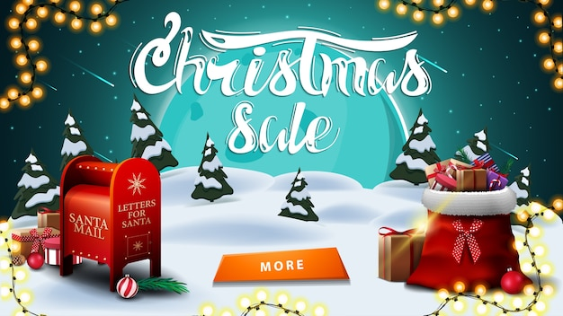 Christmas sale, discount banner with winter landscape.