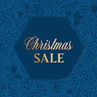 クリスマスセール割引手描きスケッチ松またはトウヒの花輪バナーまたはカードテンプレート