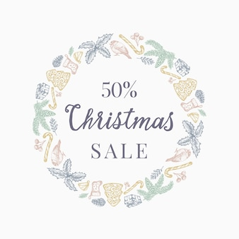 Christmas sale discount hand drawn sketch wreath