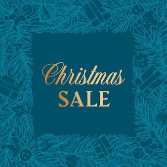 クリスマスセール割引手描き正方形スケッチ松またはトウヒの花輪バナーまたはカードテンプレート Premiumベクター