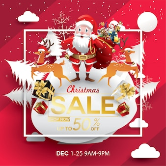 Christmas sale discount offer. cartoon santa's hat in forest snow scene for new year promo