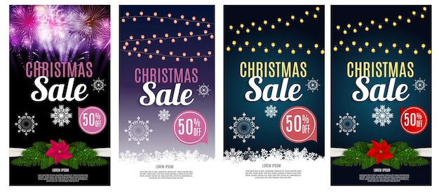 Christmas sale discount voucher banner background business card