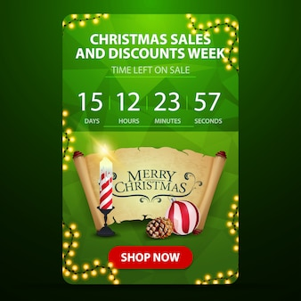 Christmas sale and discount week, green web banner with button, countdown timer to the end of discounts