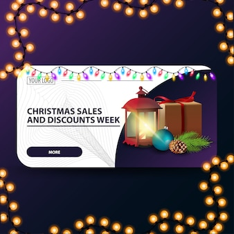 Christmas sale and discount week, horizontal modern web banner