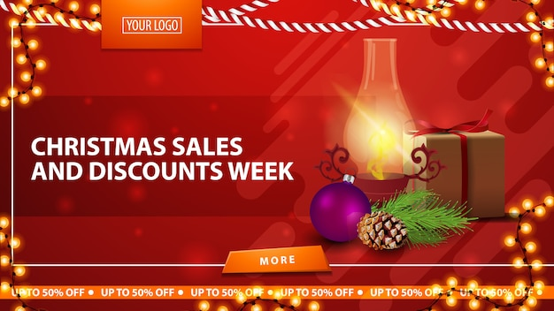 Christmas sale and discount week, red bright horizontal modern web banner