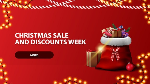 Christmas sale and discount week, red horizontal banner with button, garland and santa claus bag