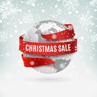 Christmas sale, earth icon with red ribbon around, on winter background. greeting card, brochure or poster template.