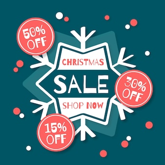 Christmas sale in flat design