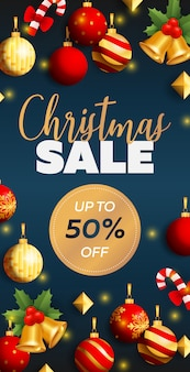 Christmas sale flyer design with balls