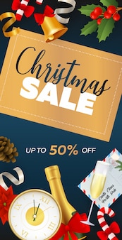 Christmas sale flyer design with champagne