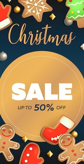 Christmas sale flyer design with circular label