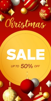 Christmas sale flyer design with discount circular label